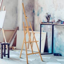 Chevalet d'Artiste Sur Pieds Inclinable PICASSO Marron