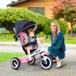 Tricycle évolutif avec canopy et canne télescopique amovible - Rose