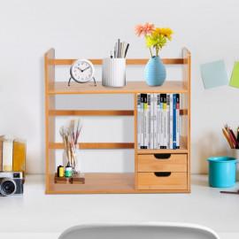 Organisateur de bureau en bois naturel deux tiroirs