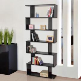 Bibliothèque Étagère Zig Zag en Bois Noire