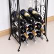 Étagère à bouteilles support verres à pied métal noir