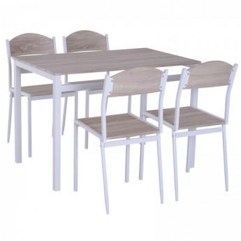 Table à manger + 4 chaises en acier France beige