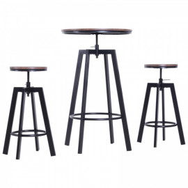 Ensemble Loungy Table de Bar + 2 Tabourets Marron