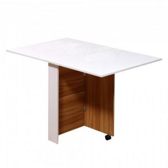 Table de cuisine pliable Julio sur roulettes blanc