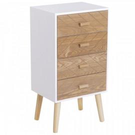 Un meuble de rangement avec tiroirs fermés – hêtre et blanche