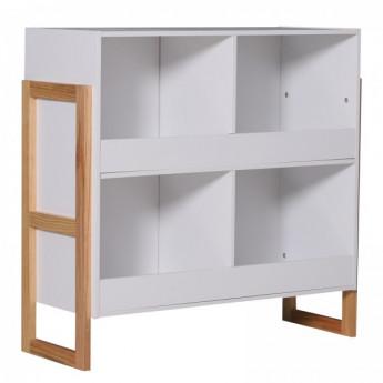 Bibliothèque 4 rangements en bois massif de pin bicolore blanc