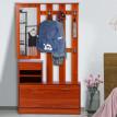 Porte-manteaux avec meuble à chaussures et miroir Bois orangé
