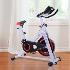 Vélo d'appartement Perrine blanc, noir et rouge