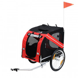 Remorque vélo pour transport de chien rouge et noire