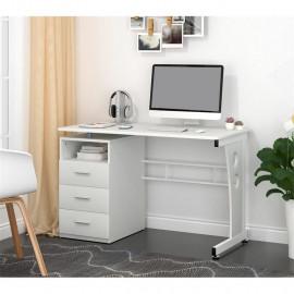 Bureau informatique blanc avec tablette et tiroirs de rangement