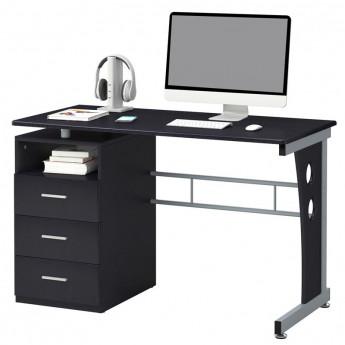 Bureau informatique noir avec tiroirs de rangement