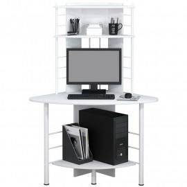 Bureau informatique d'angle avec tablette coulisssante – blanc
