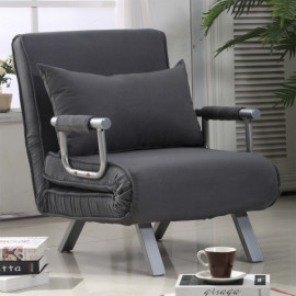 Canapé-lit en métal 1 place Cécile gris