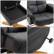 Fauteuil relaxant inclinable Roberto noir avec repose-pieds