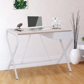 Bureau informatique Burtok blanc et bois de chêne