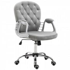 Fauteuil de bureau design en velours gris clair Karl