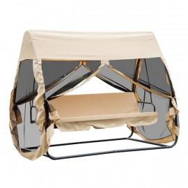 Balancelle de jardin 3 places MAYA convertible grand confort - beige
