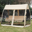 Balancelle de jardin 3 places MAYA convertible grand confort - beige