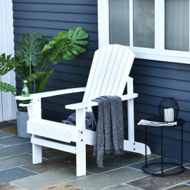 Transat de jardin Normandie en bois de sapin coloris blanc