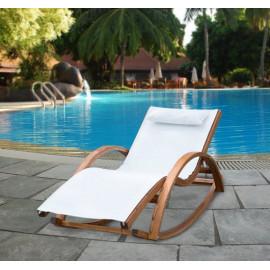 Chaise longue WOODY blanche à bascule en bois