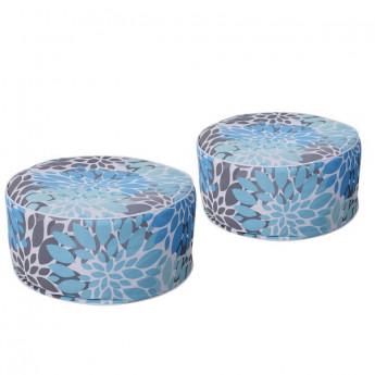 Poufs Lolita bleus, gris ou blancs avec motifs floraux
