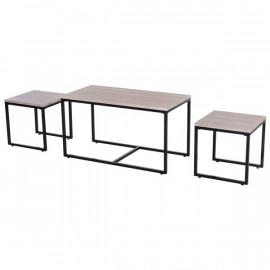 3 tables basses suédoises noir chêne clair