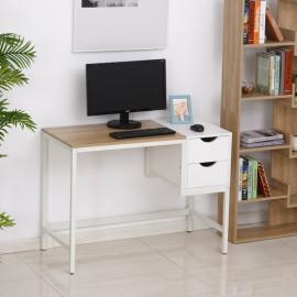 Bureau d'ordinateur KOALA blanc et chêne