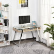 Bureau d'ordinateur avec plateau en verre teinté KAORI