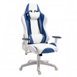 Fauteuil SANTORIN confortable en cuir bleu blanc