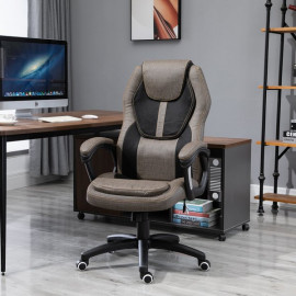 Fauteuil de bureau MANHATTAN, gris brun surpiqûre orange