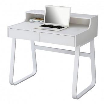 Petit bureau informatique en bois coloris blanc et métal blanc avec tiroirs