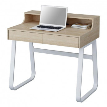 Petit bureau informatique en bois coloris hêtre et métal blanc avec tiroirs