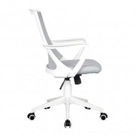 Chaise de bureau Style tissu grise/blanche