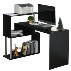 Bureau élégant noir avec étagère intégrée en S