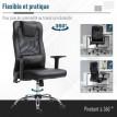 Chaise de bureau contemporaine en cuir noir avec fonction massante
