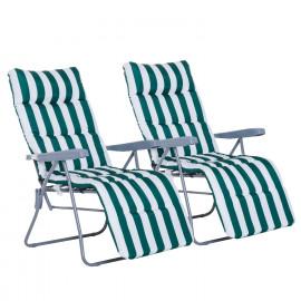 Lot de 2 Chaises Longues Pliantes de Jardin CANBERRA vert et blanc