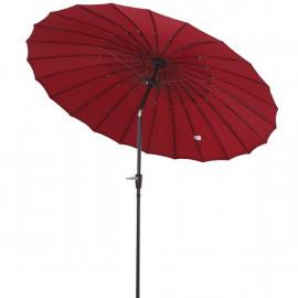 Parasol rond CHINA rouge avec manivelle