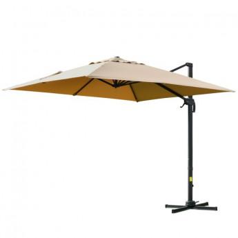 Parasol carré CAMEL déporté - inclinable et pivotant à 360° - Beige