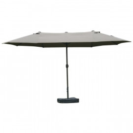 Grand parasol de jardin DIEPPE gris avec contrepoids inclus