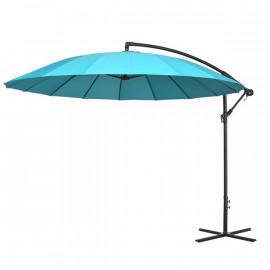 Grand parasol rond déporté inclinable AZUR Bleu ciel