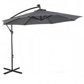 Grand parasol déporté octogonal MATHIS gris à LED
