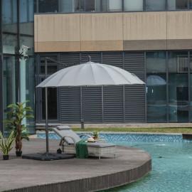 Parasol déporté rond POPPINS gris