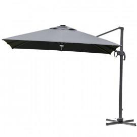 Parasol carré déporté CRAIG carré à LED gris
