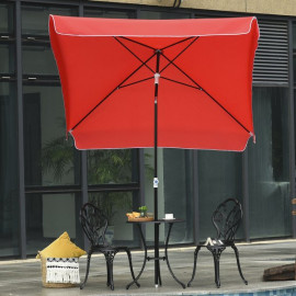 Parasol inclinable carré DRINK rouge