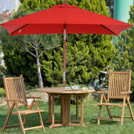 Parasol rectangulaire bois ANTIBES rouge
