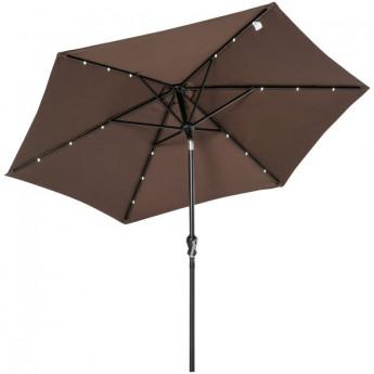 Parasol hexagonal inclinable BIDART à LED chocolat