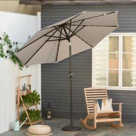 Grand parasol à LED inclinable ROCHELLE Gris