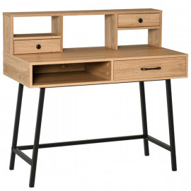 Bureau style industriel SECRETARI imitation bois