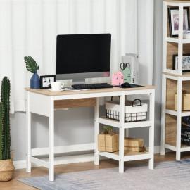 Bureau informatique multimédia COPENHAGUE bicolore chêne clair et blanc