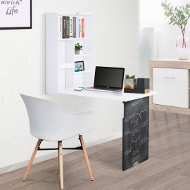 Bureau dépliable étagère et tableau TRIPTYK blanc et noir